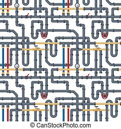 Seamless background with tubes and pipelines on white. Flat elements of water tubing. Plumbing fo gas, oil industry. Vector illustration in flat style