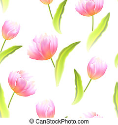 Seamless background with Tulips.
