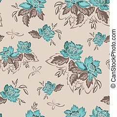 Seamless background with turquoise flowers.eps