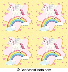 Seamless background with unicorn on rainbow