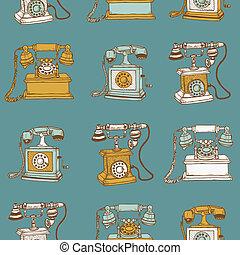 Seamless Background with Vintage Telephones - hand drawn in vector