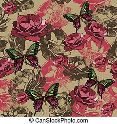 Seamless background with vintage roses and butterflies,...