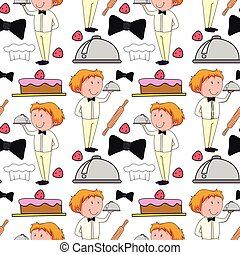 Seamless background  with waiter serving food
