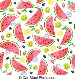 Seamless background with watermelon and kiwi slices. Vector illustration.