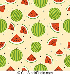 Seamless background with watermelon slices. Vector illustration