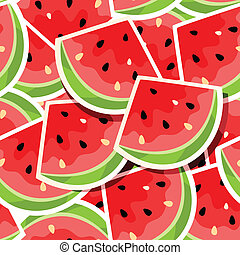 Seamless background with watermelon - Vector illustration of...