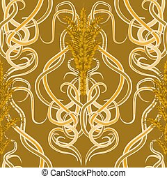 Seamless background with wheat in art nouveau style, vector illustration