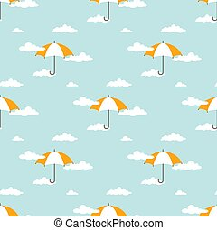 Seamless background with white clouds and orange umbrellas on powder blue sky.