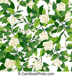 Seamless background with white rose