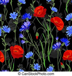 Seamless background with wildflowers. Vector watercolor imitation