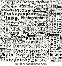 Seamless background with with messages words on the topic of photography