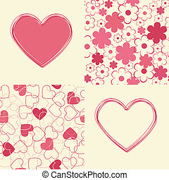 Seamless backgrounds and hearts.