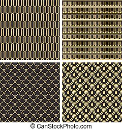 Seamless backgrounds based on antique greek ornaments.