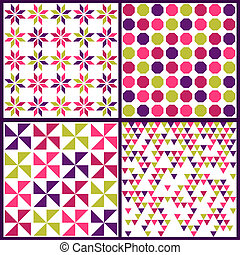Seamless backgrounds Collection - Vintage Colorful Tile - for design and scrapbook - in vector