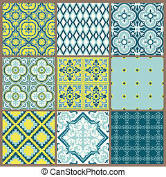 Seamless backgrounds Collection - Vintage Tile - for design...