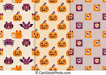 Seamless Backgrounds with Halloween Icons