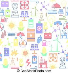 seamless, bakgrund, icon., mönster, energi