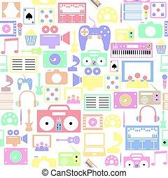 seamless, bakgrund, icon., underhållning, mönster