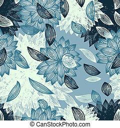 seamless, bakgrund, med, blomma, och, blåst, petals