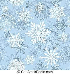 seamless, bakgrund, snöflingor