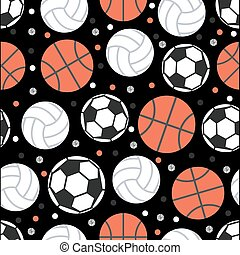 seamless ball with glitter polka dot pattern on black background