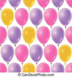 Seamless balloons pattern for Baby Shower background. Realistic Birthday balloon floating in the air.