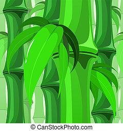 Seamless Bamboo Pattern with Leaves