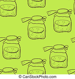 pear jam - seamless, banks with pear jam on a light green...