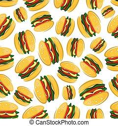 Seamless barbecue hamburgers pattern background