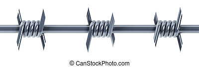 seamless barbed wire 3d illustration