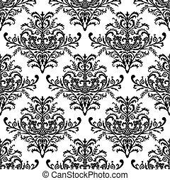 seamless, barok, behang, vector