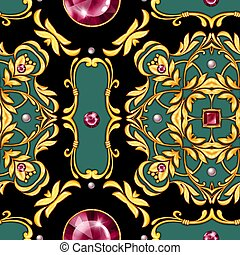 Seamless baroque pattern with gems