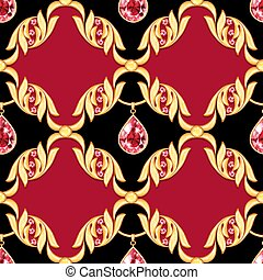 Seamless baroque pattern with jewelry