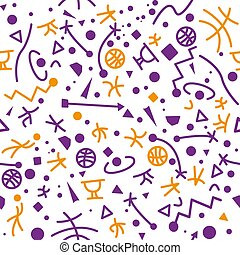 Seamless basketball pattern, orange and purple shapes. Seamless Pattern included in swatch.