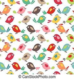 seamless, bastante, patrón, con, estilizado, aves