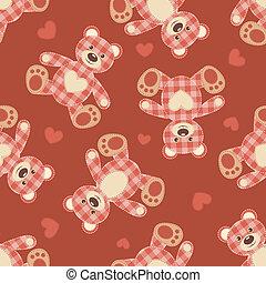 Seamless bear patchwork pattern.