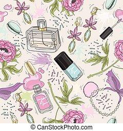 Seamless beauty pattern make up