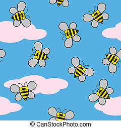 Seamless Bees and Clouds