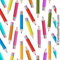 seamless, behang, met, kleurrijke, potloden