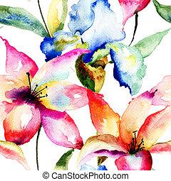 seamless, behang, met, lelie, en, iris, bloemen