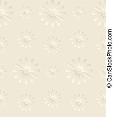 Seamless Beige Background with Daisy Flowers - Seamless...