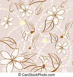 seamless, beige, floral, fond