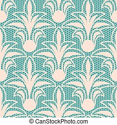 Seamless beige floral lace pattern on blue background