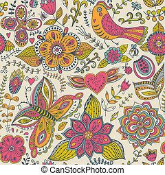 seamless, beschaffenheit, mit, blumen, vögel, und, butterflies., gebrauch, für, tapete, muster, füllungen, webseite, hintergrund, oberfläche, textures., reizend, tiere, in, forest., owl., rabbit., fauna.