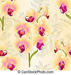 seamless, beschaffenheit, phalaenopsis, vektor, gelber ,...
