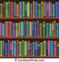 seamless, bibliotheek, planken, met, oude boeken