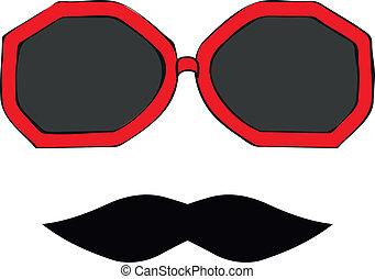 seamless, bigode, óculos