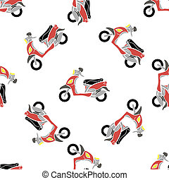 Seamless Bike Pattern - Red Scooters Isolated on White...