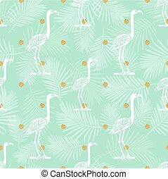seamless bird with gold dot glitter pattern background