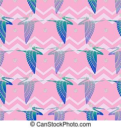 seamless bird with silver glitter pattern on pink stripe background